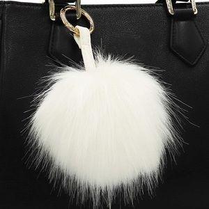 White Faux Fur Pom Pom Keychain NWOT